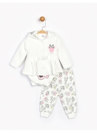 Minnie Mouse  3'Lü Bebek Takım 16088 Ekru
